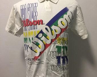 678ec7921ee137 Vtg 80s wilson tennis polo shirt   ivan lendl  andre agassi