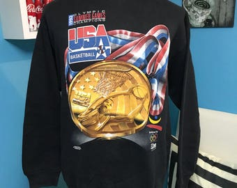 Vtg 90s olympic barcalona Usa basketball dream team gold medal sweatshirt