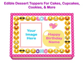 Emoji Edible Cake Topper Birthday Party