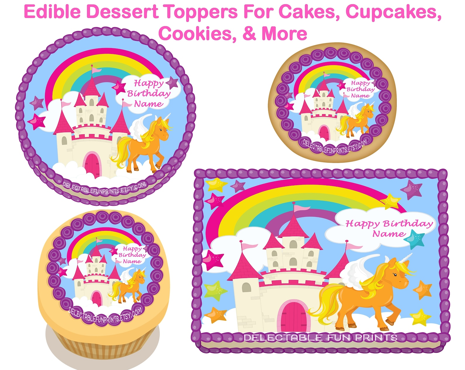 Unicorn Edible Image Cake Toppers Page Three
