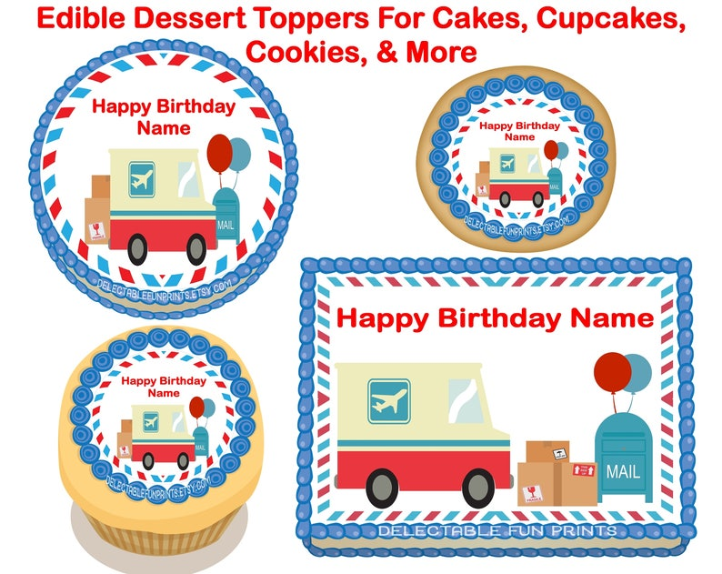 Post Office Party Decorations Post Office Birthday Party Post Office cupcake toppers Post Office Cake topper Post office cookie toppers