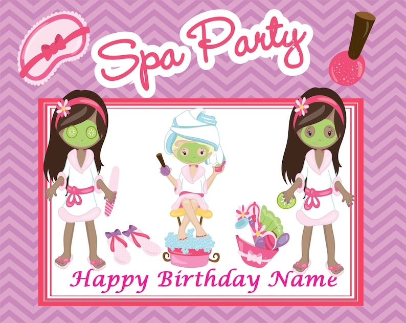 African American Spa Party Edible cake cupcake cookie toppers