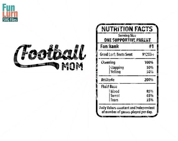 Football Mom Nutrition Facts Svg Football Mom Digital Etsy
