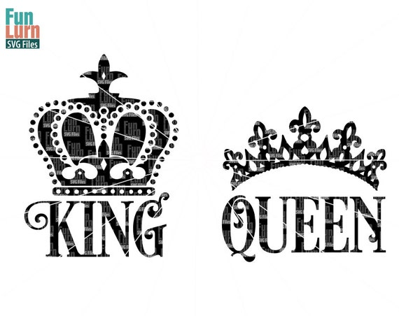 King Svg Queen Svg King Crown Queen Crown Svg Design Svg Etsy