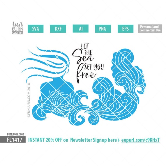 Let The Sea Set You Free Svg Mermaid Svg Sea Waves Mermaid Etsy