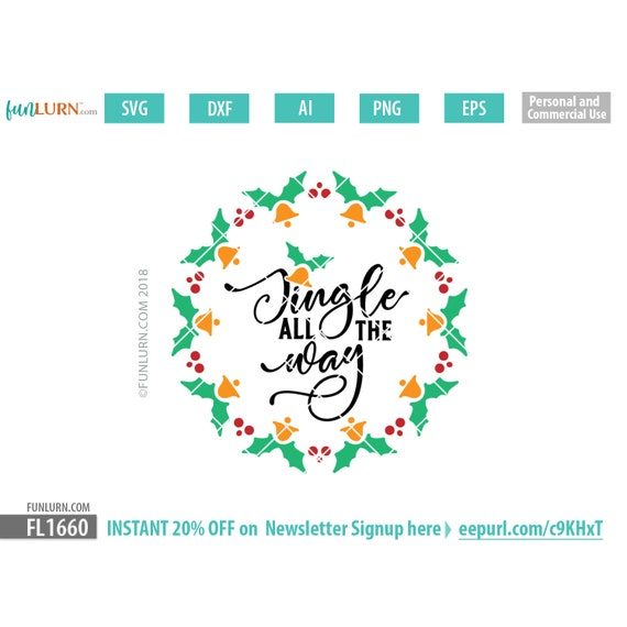 Jingle All The Way Svg File Christmas Ornament Svg Floating Etsy