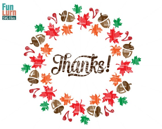 Thanks Svgfall Wreath Maple Leaf Acorn Cranberries Etsy