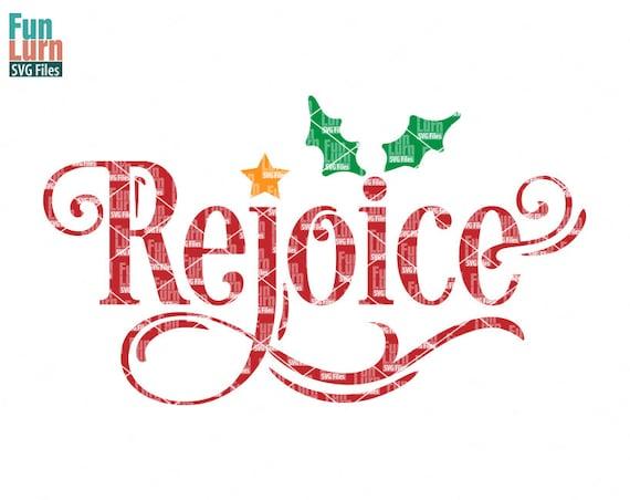 rejoice svg christmas svg star word art holly leaves etsy