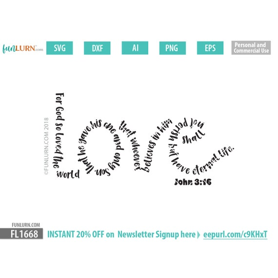 Love Svg John 3 16 For God So Loved The World Christian Etsy