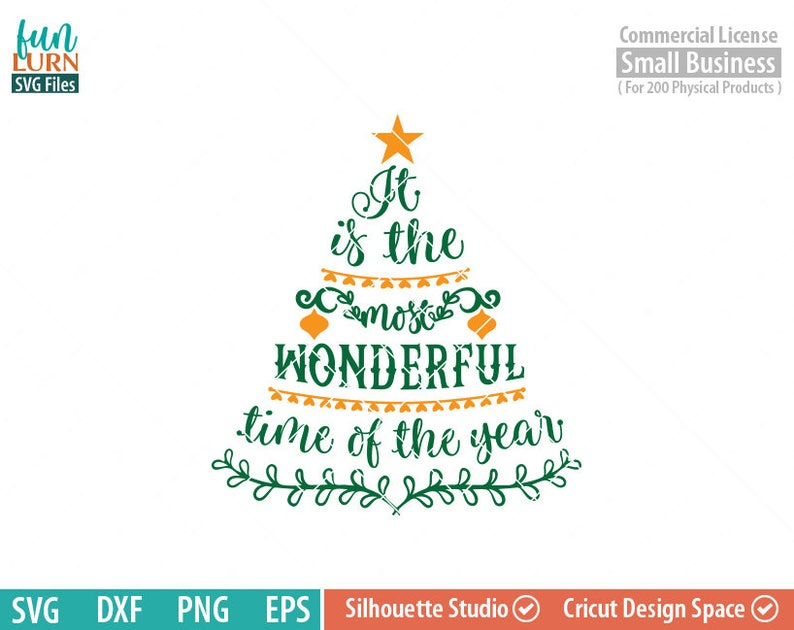 Its The Most Wonderful Time Of The Year Svg Christmas Tree Etsy