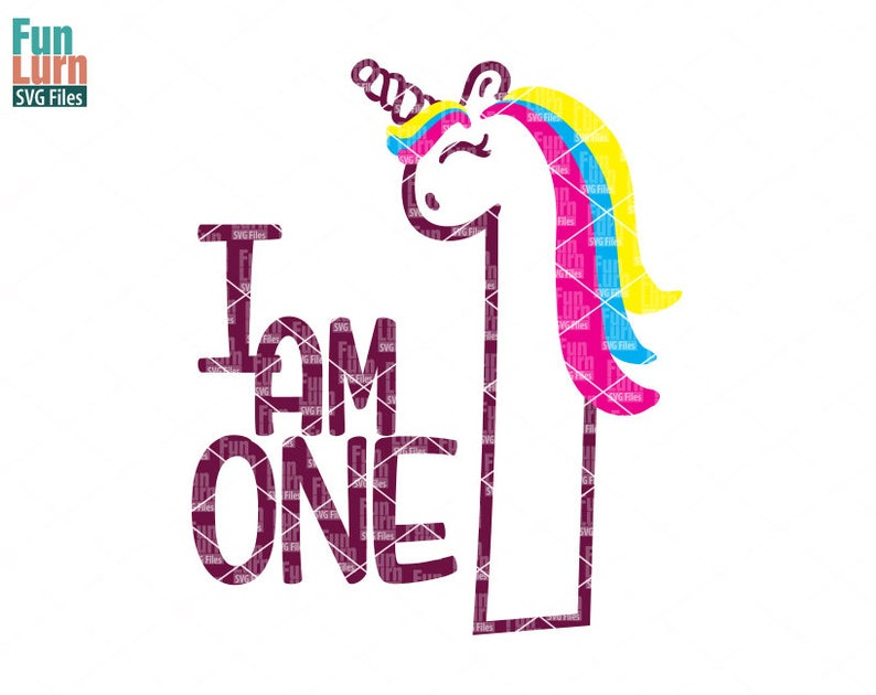 Unicorn Birthday svg, First Birthday, I am One, One svg,Unicorn svg,  rainbow, svg png dxf eps zip, Cameo file, Cut file, Cricut file
