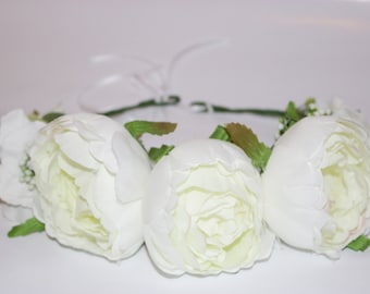 Handmade white peonies bridal wedding everyday flower crown
