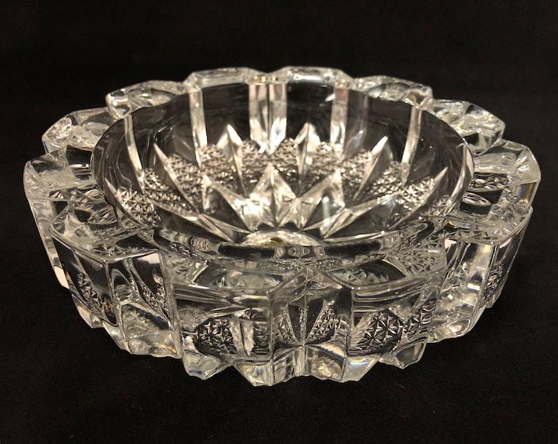 4c028d23437 Vintage Crystal Riccardo Ashtray or Bowl Sunburst Design