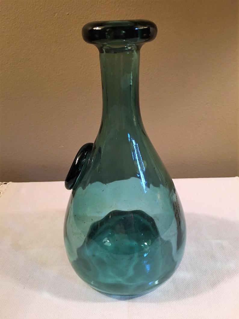 Applied CE Crown Shove Up Kick Up Bottom Carved Inward Holmegaard Elsimore Danish BlueGreen Glass Wine Carafe Push Up Punt Bottom