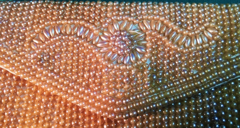 Mid Century 1950/'s Beaded Seed Pearls Clutch wSnap-Made in Japan-Faux Pearls Beaded Purse-Old Hollywood Style-Bridal Clutch-Retro Fashion