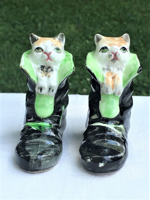 Puss In Boots Vintage Salt And Pepper Shakers Made In Etsy