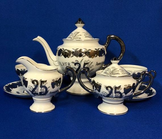 Covered Sugar Vintage Norcrest Fine China 25th Anniversary Covered Tea Pot Creamer
