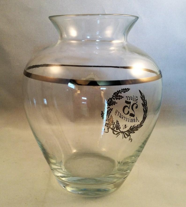 Handmade West Virginia Glass Silver 25th Wedding Anniversary Vase Anniversary Gift Silver Rim Weston West Virginia