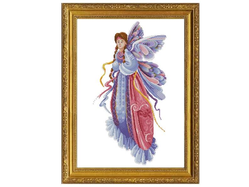 Aida Beautiful Fairy Kitten Counted Cross Stitch Pattern 14 ct