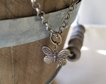 Silver Butterfly Necklace, Silver Chain Necklace, Small Butterfly Jewelry, Silver Chain Necklace, Butterfly Charm Necklace