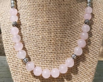 Pink Rose Quartz Necklace, Natural Stone Necklace, Pink Quartz Necklace, Rose Quartz Necklace, Chunky Stone Necklace, Short Beaded Necklace