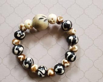 Orange Palm Wood Beads Orange Wood and Bone Necklace Palm Wood Beaded Necklace White Batik Bone Beads White Bone Accents White Bone