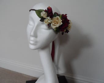 Floral Crown, Wedding Crown, Flower Hairpiece,Headpiece, Boho Crown, Silk Flower Crown, Rustic