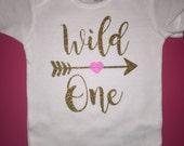 Wild one onesie baby girl onesie