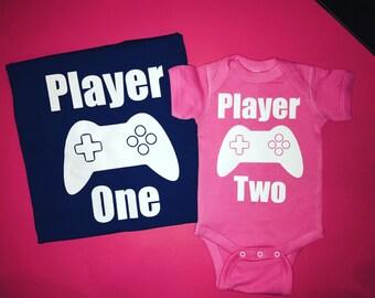 Player one men shirt gamer shirt