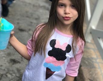 Disney minnie mouse ice cream shirt disney ice cream shirt raglan ice screen shirt