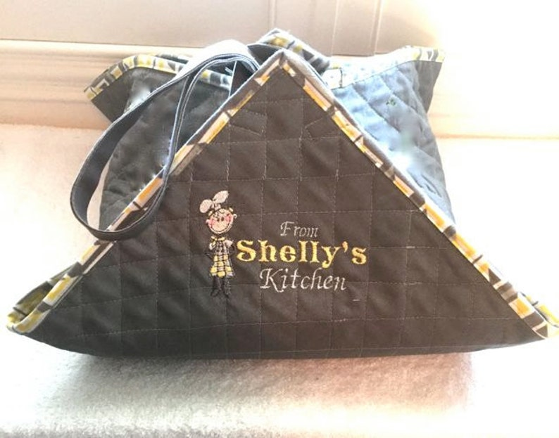 EZ Food Carrier Tote GrayYellow Cube Fabric Quilted Makes a Great Gift! YOUR Name on Strap Reversible /& Personalized Embroidery
