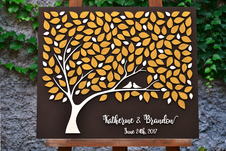 3D Wedding guest book alternative tree wood Custom unique guest book leaves Rustic wedding Rustic guest book wooden tree Tree of life Gift