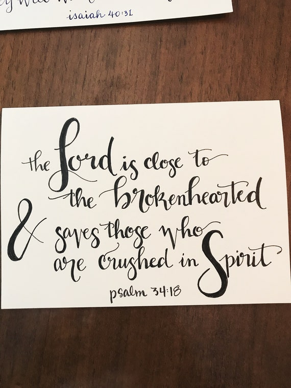 hand lettered bible verse sympathy card etsy - Bible Verses For Sympathy Cards
