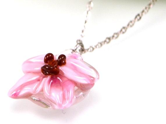 Pink Lampwork Orhid focal bead Pendant