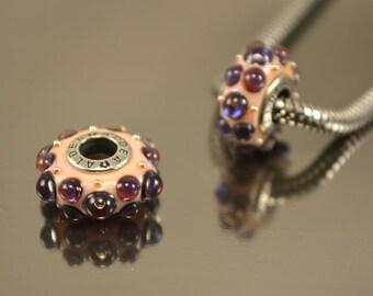 European Beads, Handmade Lampwork European Bead, Beads fits Charm Bracelet , Glass beads for european bracelet,Intro bead,violet purple bead