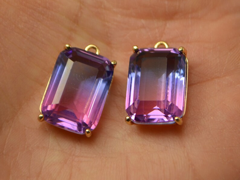 Pink crystal Jewelry stones Necklace crystal pendant Brass findings Rectangle shaped glass crystals 20x13mm Purple Pink Faceted pendant