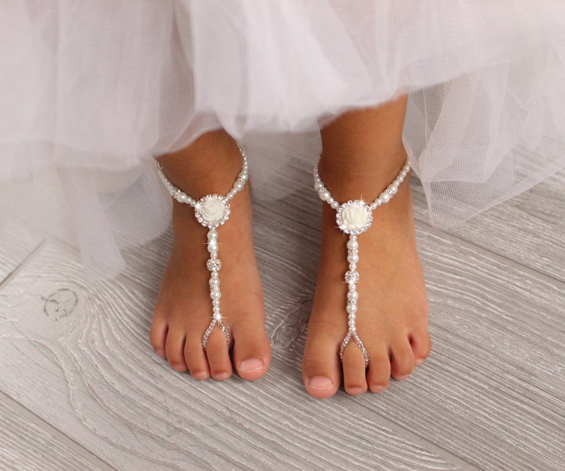 6cb964868fe Flower girl foot jewelry baby sandals baptism sandals