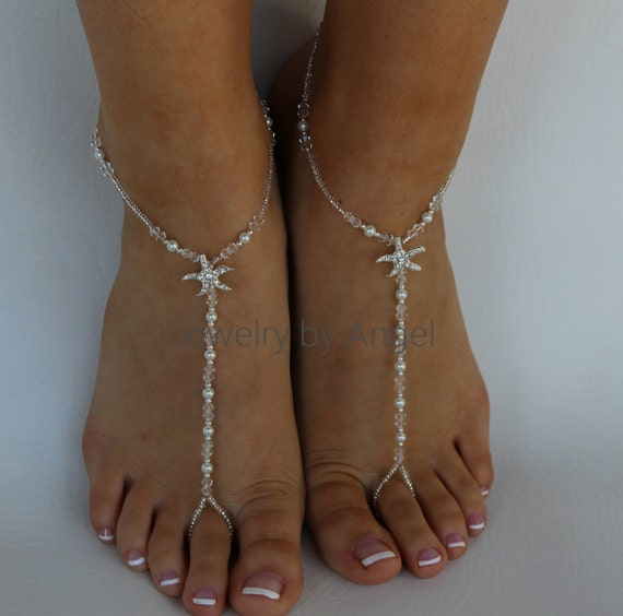 Étoile de mer pied perle bijoux argent cristal mariée aux pieds nus Sandal mariage de plage pied mariée bijoux mariage étoile de mer