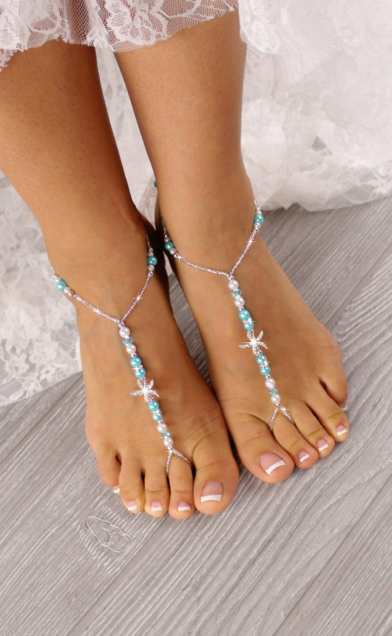 77dc1f3579e69 Beach wedding barefoot sandals-Bridal foot jewelry Rhinestone starfish barefoot  sandals Barefoot Sandals Bridal shoes Footless sandals Blue