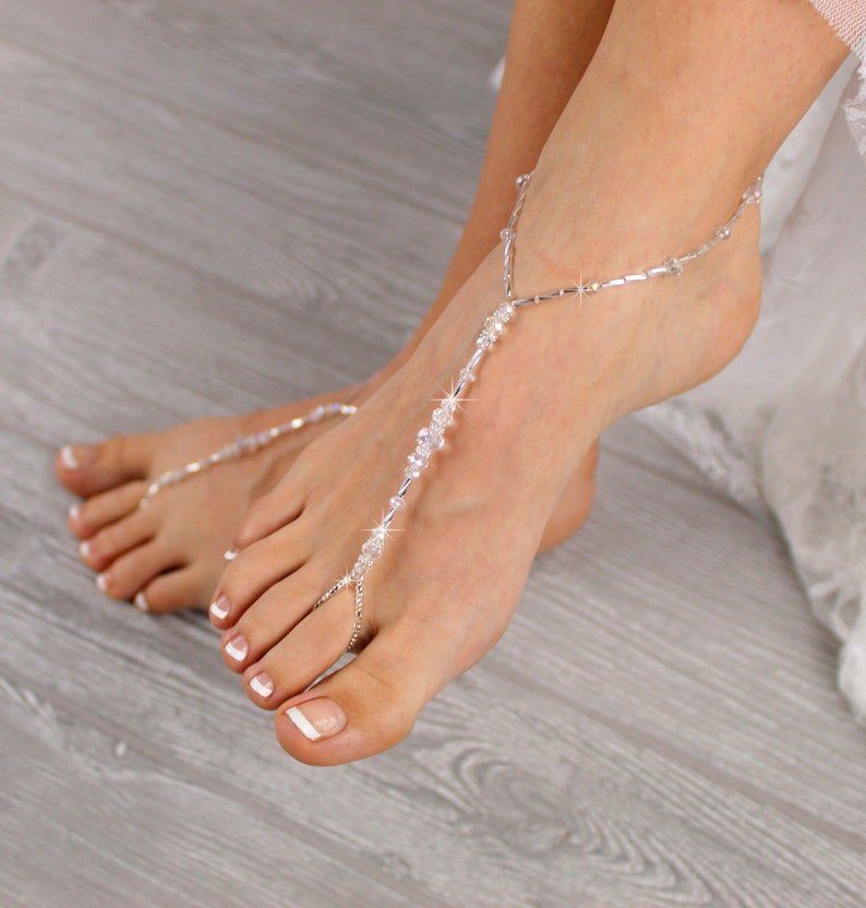 c47099b27c320 Beaded Barefoot Sandals Boho Rhinestone Foot Jewelry Beach