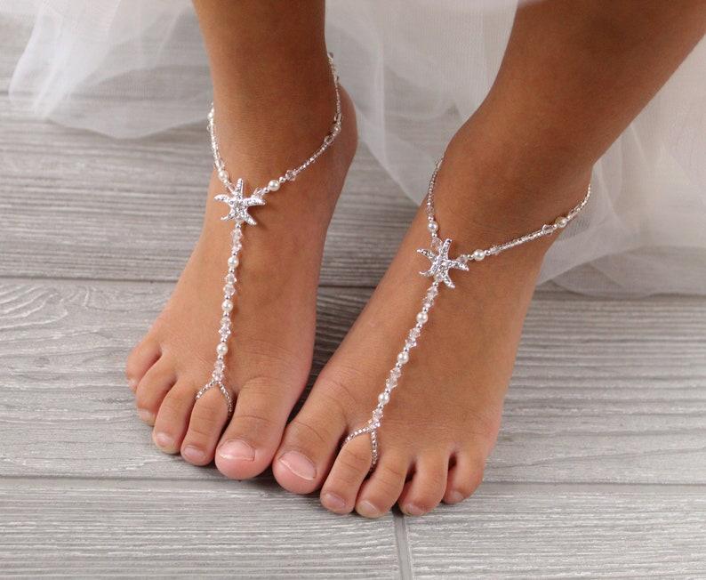e9ca5ece6e18 Kids Starfish Foot Jewelry Baby Barefoot Sandal Baby Foot