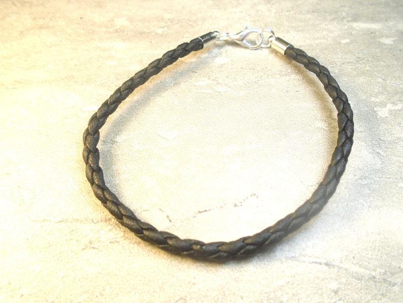 eb516d8dc Simple plain black leather bracelet. | Etsy