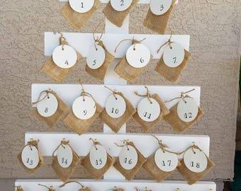 Christmas Advent Calendar Tree with Burlap bags and Bible Verses   Advent Tree   Christmas Tree   Wood Tree   Advent Christmas Tree