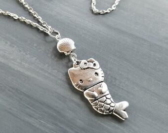 fc6c97e8e Mercat Necklace / Cat Necklace / Mermaid Necklace / Silver Cat Necklace / Hello  Kitty Jewelry / Hello Kitty Gift / Mermaid Cat Necklace