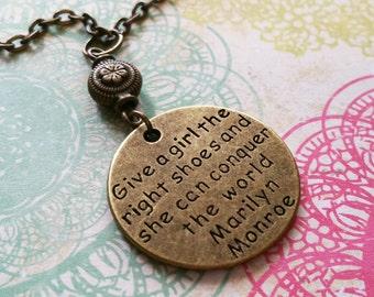 Marilyn Monroe Necklace / Beaded Necklace / Bronze Bead Necklace / Vintage Necklace / Inspirational Necklace