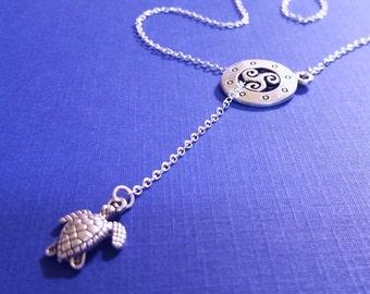 Sea Turtle Necklace / Lariat Necklace / Nautical Necklace / Vintage Necklace / Turtle Necklace / Silver Necklace