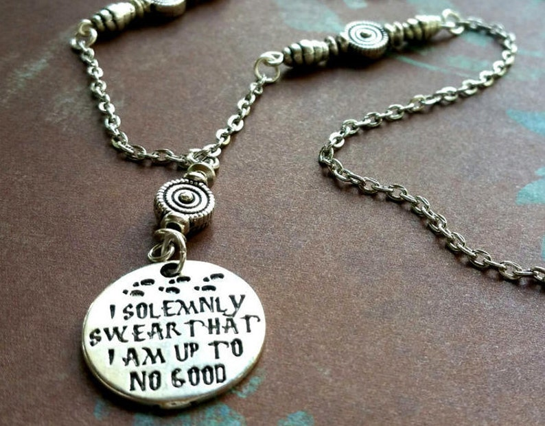 I solemnly Swear I/'m Up to No Good Necklace  Pop Culture Jewelry  Geek Jewelry