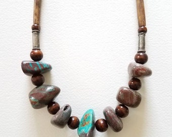 Stone, Bone and Wood Beaded Necklace