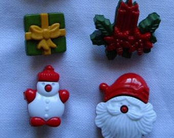 Christmas Buttons Santa, Christmas candle, Reindeer, Frosty, Christmas Bell, Present