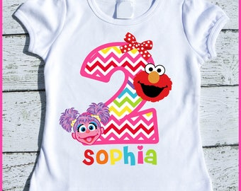 Custom Personalized Elmo And Abby Birthday Tee Shirt